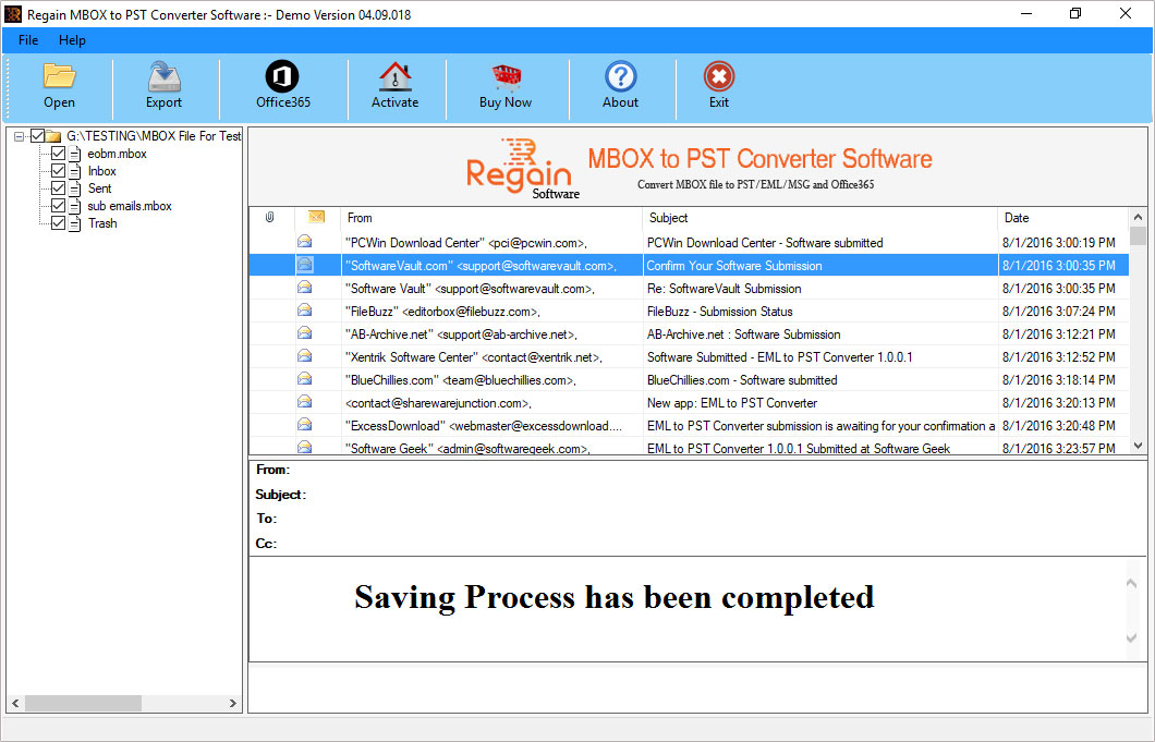 Export MBOX files to PST format successfully
